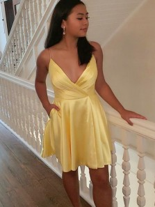 Cute A Line V Neck Spaghetti Straps Daffodil Satin Short Homecoming Dresses Under 100, Mini Cocktail Dresses with Pockets