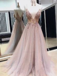 New Fashion V Neck Spaghtti Straps Open Back Light Grey-Blush Prom Dresses with Split, Beaded Prom Dresses PD1908002