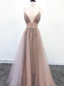 New Fashion V Neck Spaghtti Straps Open Back Light Grey-Blush Prom Dresses with Split, Beaded Prom Dresses PD1908002