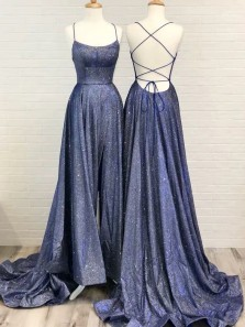 Cute Sparkly Cross Back Navy Blue Long Prom Dresses with Pockets, Split Evening Dresses