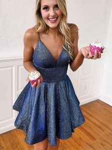 Cute A Line V Neck Open Back Spaghetti Straps Navy Blue Short Homecoming Dresses with Pockets