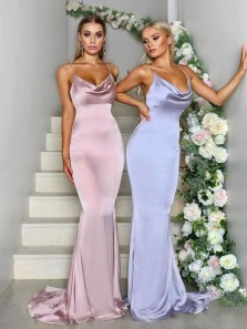Elegant Mermaid Cowl Neck Satin Long Bridesmaid Dresses