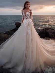 Gorgeous A Line Scoop Neck Long Sleeves Lace Wedding Dresses with Train, Elegant & Vintage Wedding Dress