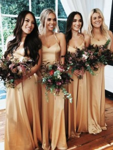 Elegant A Line Sweetheart Spaghetti Straps Gold Satin Long Bridesmaid Dresses