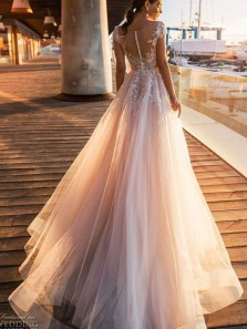 Gorgeous A Line Scoop Neck Open Back Lace Wedding Dresses, Cap Sleeves Wedding Dresses