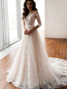 Elegant A Line Round Neck Zipper-up Long Sleeves Lace Long Wedding Dresses with Train
