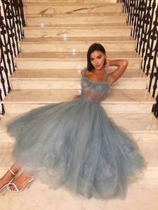Cute A Line Sweetheart Grey Blue Straps Tea Length Prom Dresses, Fairy Party Dresses