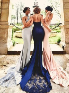 Elegant Mermaid Halter Open Back Lace Bridesmaid Dresses with Train