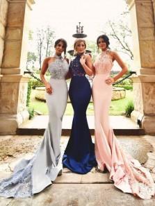 Elegant Mermaid Halter Open Back Lace Bridesmaid Dresses with Train