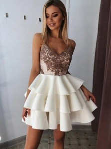 Cute A Line V Neck Spaghetti Straps Lace Ivory Homecoming Dresses, Tiered Dresses