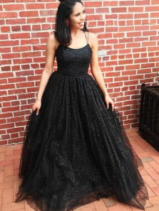 Sparkly Ball Gown Scoop Neck Cross Back Black Tulle Prom Dresses, Cute Party Dresses