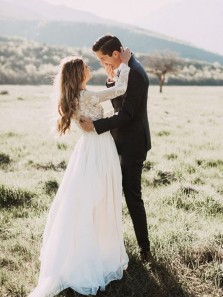Elegant A Line Round Neck Long Sleeves Chiffon Wedding Dresses with Lace, Simple Wedding Dresses