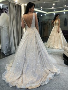 Glitter Ball Gown V Neck Open Back Ivory Prom Dresses, Elegant Evening Dresses