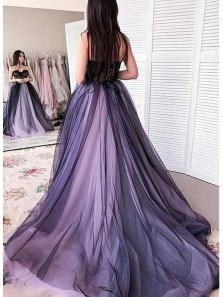 Ball Gown Sweetheart Lavender & Black Tulle Prom Dresses, Party Dresses
