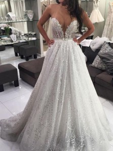 Gorgeous Ball Gown V Neck Sparkly Ivory Sequins Lace Wedding Dresses, Luxurious Wedding Dresses