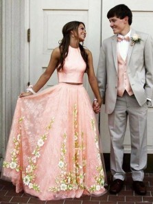 Cute A Line Round Neck Two Piece Blush Pink Long Prom Dresses with Lace, Elegant Party Dresses