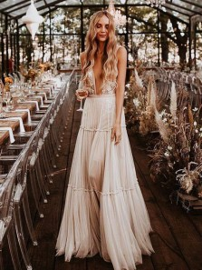 Boho A Line V Neck Open Back Lace Tiered Wedding Dresses, Unique Wedding Dresses WD1910102