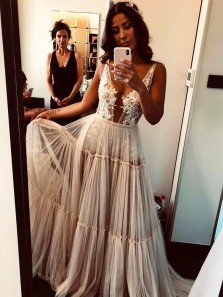 Boho A Line V Neck Open Back Lace Tiered Wedding Dresses, Unique Wedding Dresses WD1910102