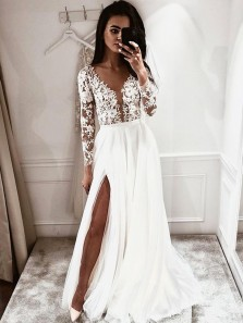 Simple A Line V Neck Open Back Long Sleeves Lace Wedding Dresses with Split WD19101602