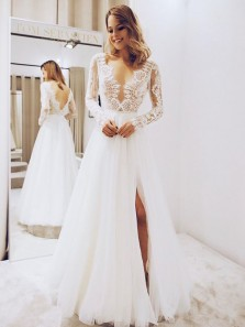 Elegant A Line V Neck Long Sleeves Lace Wedding Dresses with Split, Simple Wedding Dresses