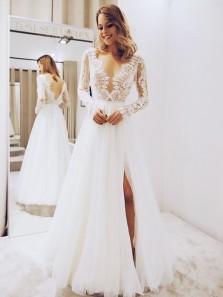 Elegant A Line V Neck Long Sleeves Lace Wedding Dresses with Split, Simple Wedding Dresses