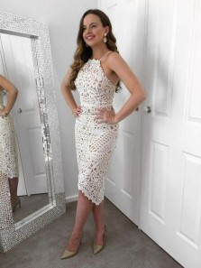 Elegant Sheath Halter Open Back Ivory Lace Short Party Dresses, Short Evening Dresses