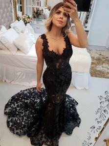 Gorgeous Mermaid Open Back Black Lace Prom Dresses, Unique Prom Dresses