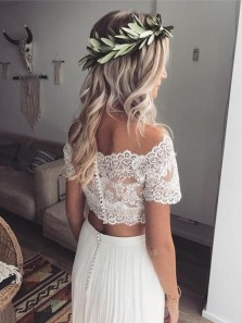 Boho A Line Tow Piece Off the Shoulder Short Sleeves Lace Wedding Dresses, Simple Beach Wedding Dresses
