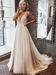 Elegant V Neck Open Back Lace Wedding Dresses, Simple Wedding Dresses