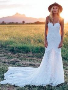 Elegant Mermaid Sweetheart Lace Ivory Wedding Dresses with train