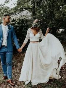 Bohemian A Line Long Sleeves V Neck Chiffon Lace Wedding Dresses, Two Piece Wedding Dresses