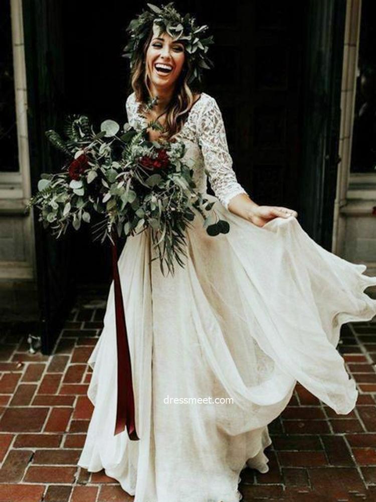 Bohemian A Line Long Sleeves V Neck Chiffon Lace Wedding Dresses Two Piece Wedding Dresses Dressmeet Com