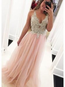 Elegant A Line V Neck Open Back Lace Long Prom Dresses with Beading, Blush Pink Long Prom Dresses