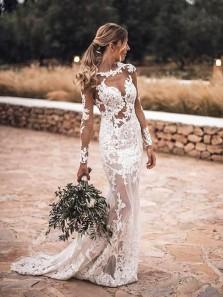Boho Mermaid Scoop Neck Long Sleeves Ivory Lace Wedding Dresses, Beautiful Wedding Dresses