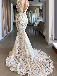 Vintage Mermaid V Neck Open Back Ivory Lace Wedding Dresses, Elegant Wedding Gown