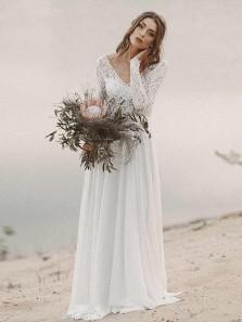 Simple V Neck Open Back Long Sleeves Lace Wedding Dresses, Beach Wedding Dresses