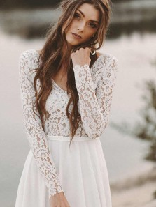 Simple V Neck Open Back Long Sleeves Lace Wedding Dresses, Beach Wedding Dresses