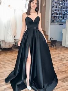 Elegant Ball Gown V Neck Spaghetti Straps Satin Black Prom Dresses with Split, Formal Evening Dresses with Pockets