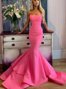 Elegant Mermaid Strapless Satin Prom Dresses with Train, Unique Prom Dresses PD19103101