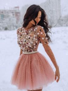 See Through A Line Blush Handmade Beading Long Sleeves Short Homecoming Dresses, Cute Dresses HD1911001