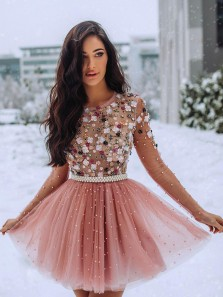See Through A Line Blush Handmade Beading Long Sleeves Short Homecoming Dresses, Cute Dresses HD1911001