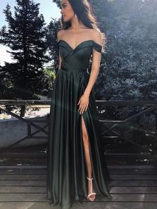 Elegant Off the Shoulder Split Black Satin Long Prom Dresses, Simple Evening Party Dresses Under 100 PD19110304