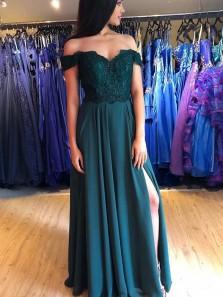 Elegant A Line Off the Shoulder Dark Peacock Chiffon Split Prom Dresses, Lace Evening Dresses, Bridesmaid Dresses