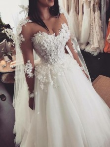 Gorgeous Ball Gown Sweetheart Long Sleeves Lace Wedding Dresses, Fairy Wedding Gown