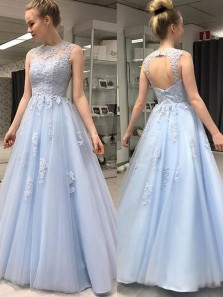 Simple Ball Gown Open Back Light Blue Lace Long Prom Dresses with Appliques, Fairy Gown Dresses