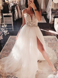 Gorgeous A Line V Neck Spaghetti Straps Tulle Split Prom Dresses, Fairy Lace Prom Dresses PD19110302