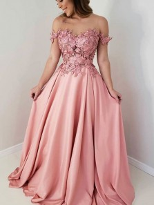 Elegant A Line Sweetheart Blush Pink Lace & Satin Long Prom Dresses, Formal Evening Party Dresses PD191103