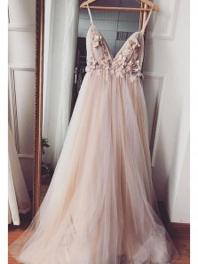 Ball Gown V Neck Spaghetti Straps Handmade Flower & Lace Prom Dresses, Fairy Prom Dresses PD19110306