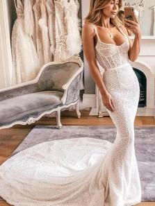 Boho Mermaid Scoop Neck Open Back Ivory Lace Wedding Dresses with Train, Vintage Wedding Dresses WD19110503