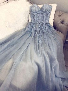 Fairy A Line Sweetheart Grey Blue Beading Lace Long Prom Dresses, Gown Dresses PD19110501